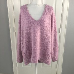 Free People Sweater Medium Lofty V Neck Pink Comfy